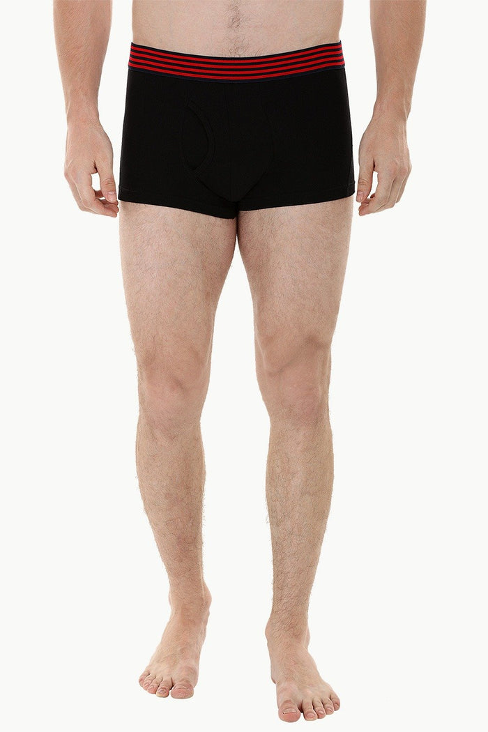 Side Fly Knit Black Boxer Trunks