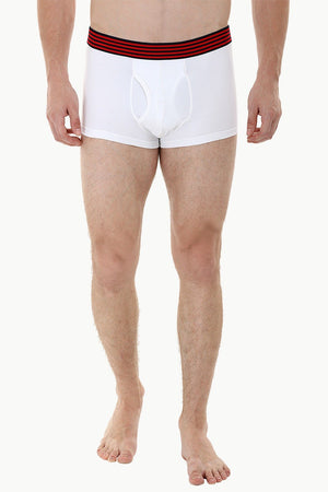 Side Fly Knit White Boxer Trunks