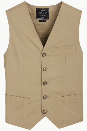 Sleeveless Lapel Khaki Jacket