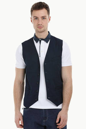 Sleeveless Lapel Navy Jacket