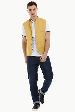 Sleeveless Nehru Mustard Jacket