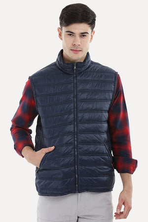 Sleeveless Solid Padded Jacket