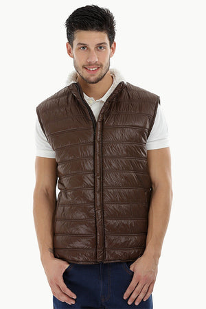 Sleeveless Quilted Jacket with Sherpa Lining