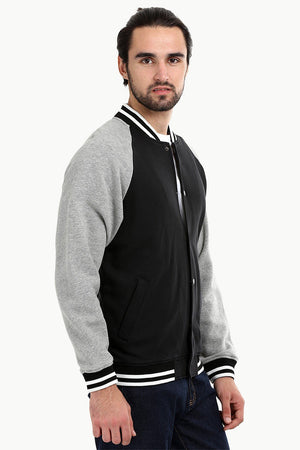 Snap Button Raglan Varsity Jacket