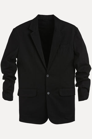Solid Black Casual Blazer