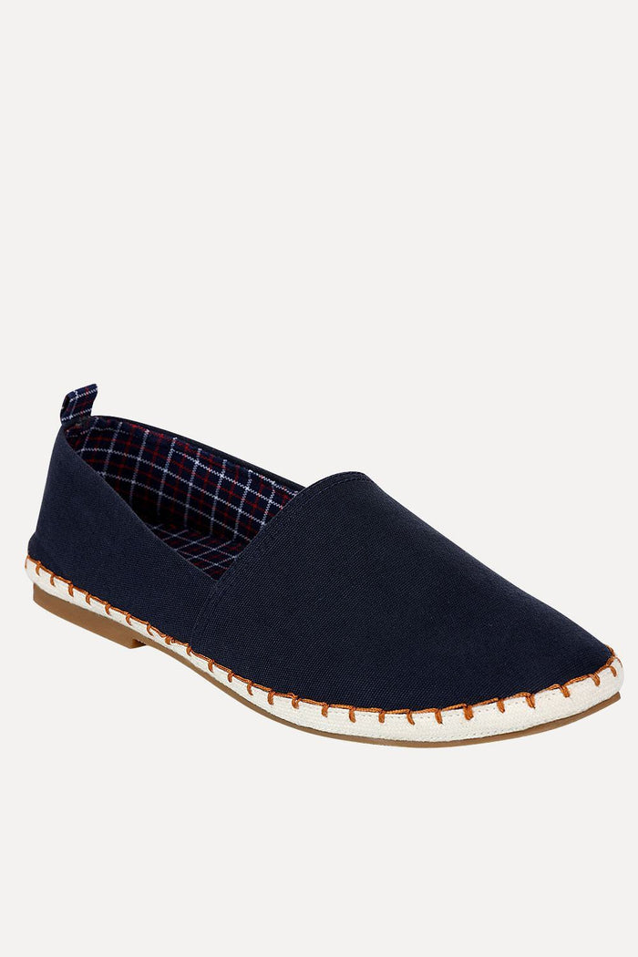 Solid Espadrilles with Checks Inside