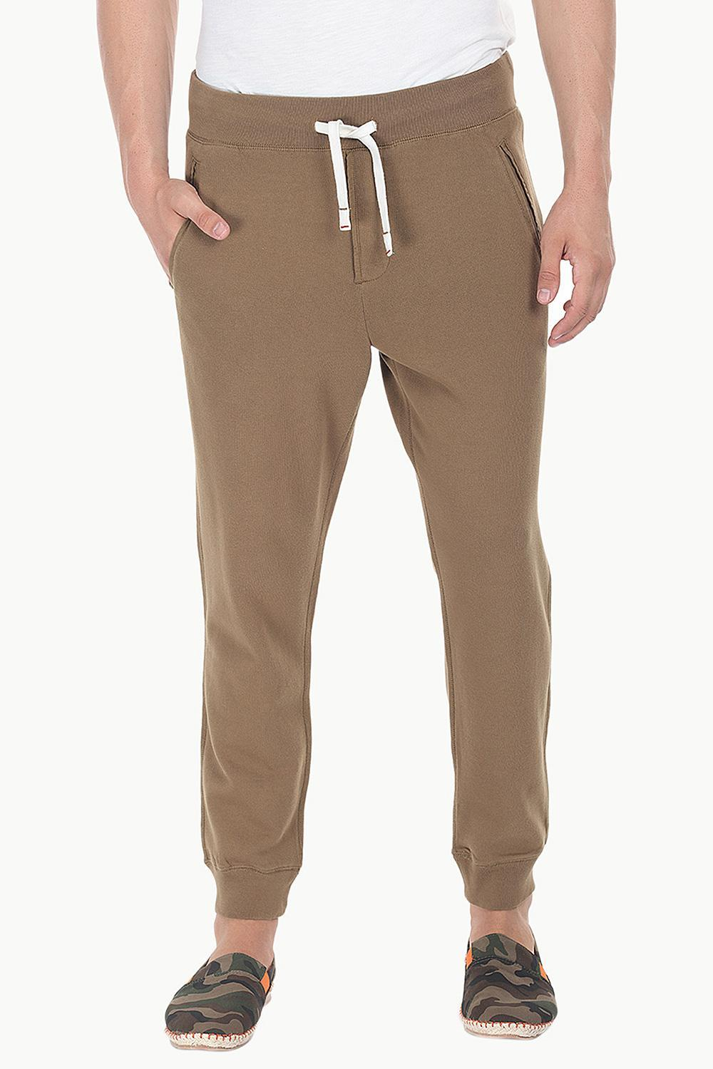 ed56f62f284045 Buy Online Caramel Brown Standard Fit Cuff Jogger Sweatpants for ...