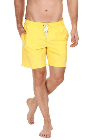 Solid Nylon Swim Shorts With Elastic Waistband