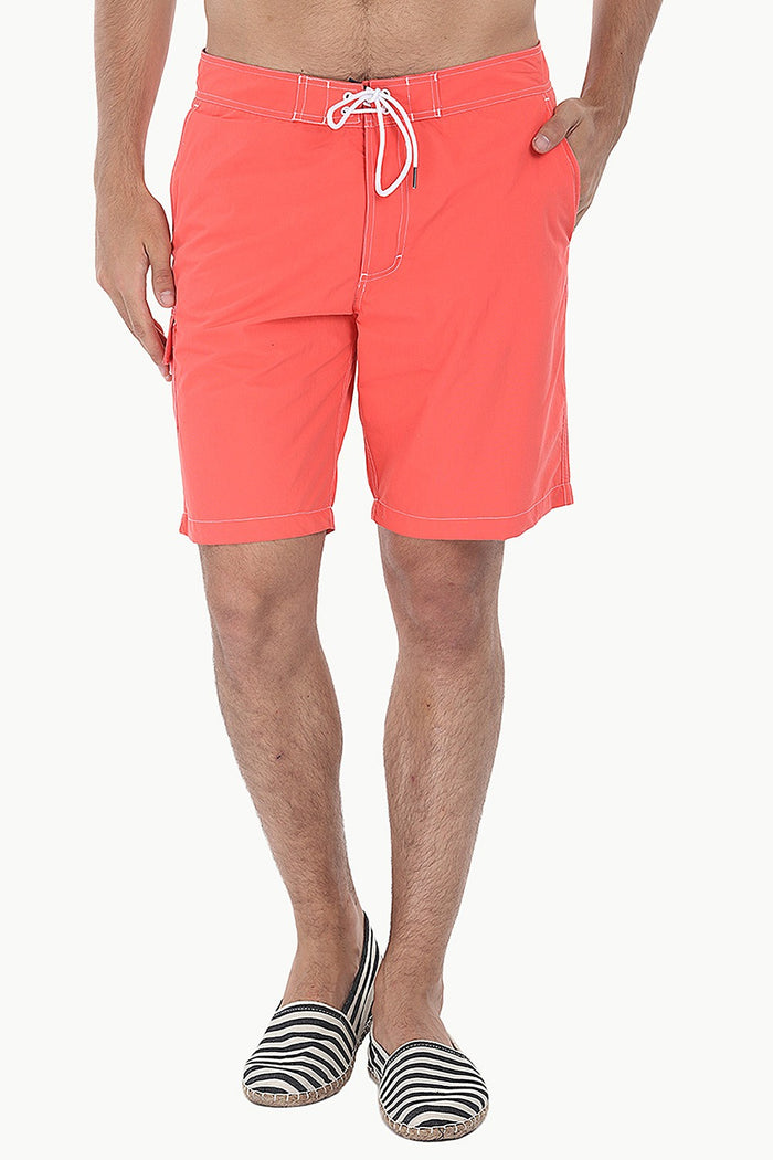Solid Quick Dry Cargo Board Swim Shorts