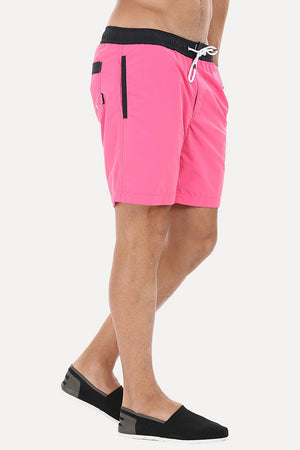 Solid Black Swim Shorts With Bright Contrast Waistband