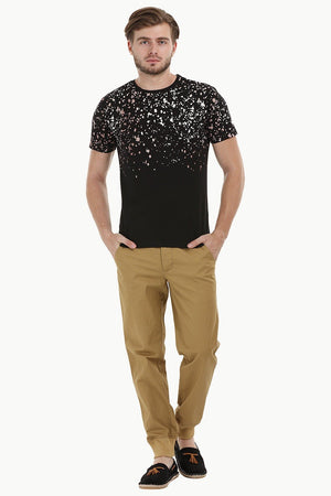 Splatter Print Black Crew T-Shirt