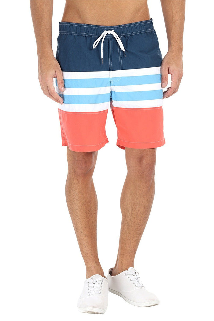 Multi Stripe Quick Dry Nylon Swim Shorts
