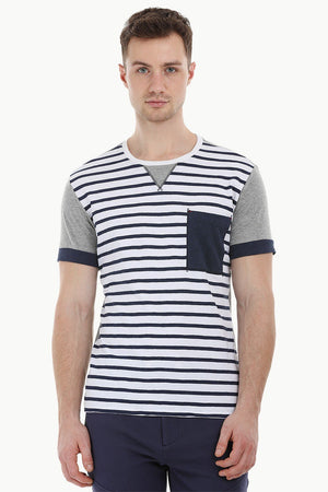 Stripe Cut N Sew Crew T-Shirt