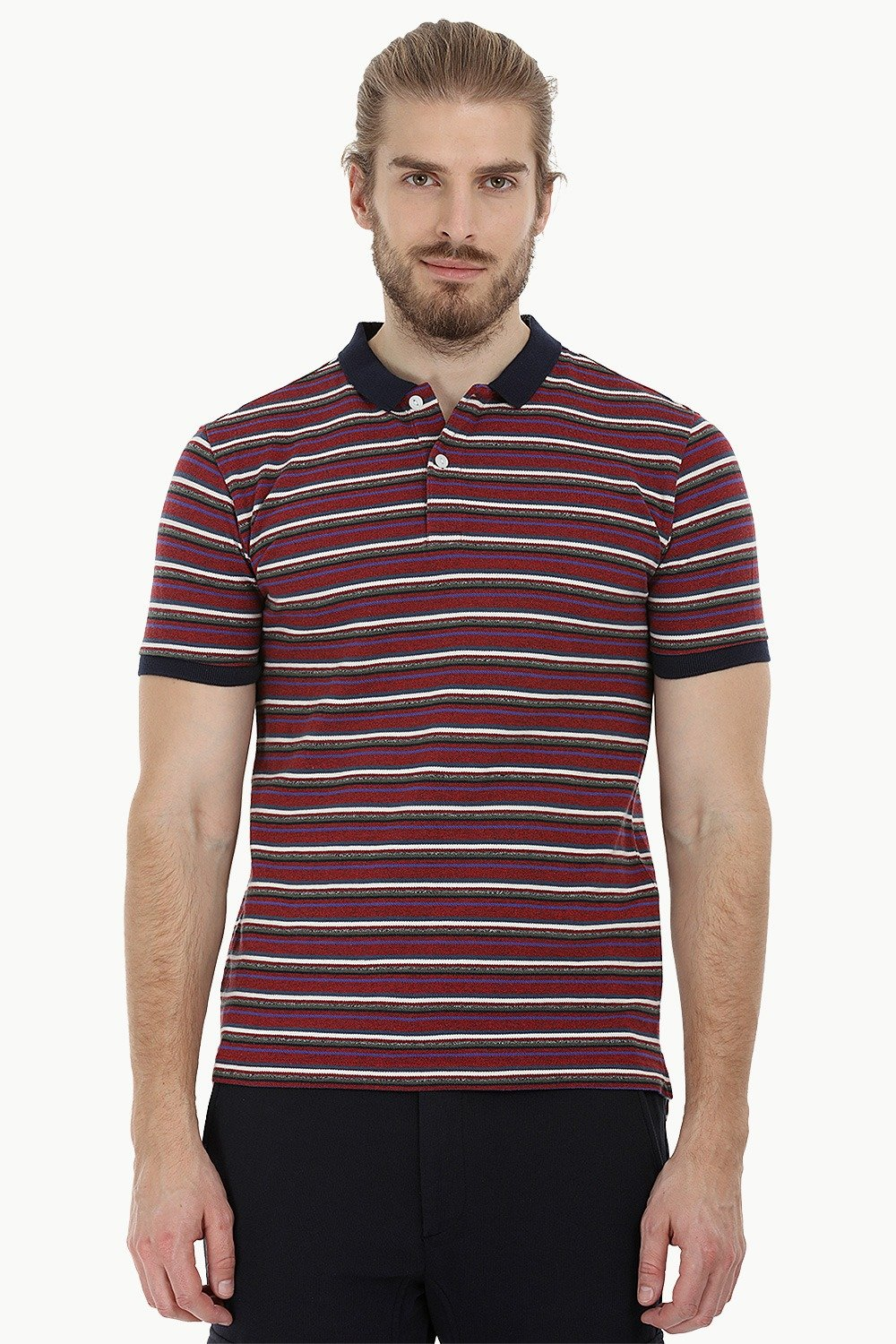 b2cc8b59 Buy Online Maroon Striped Pique Polo T-Shirt for Men Online at Zobello