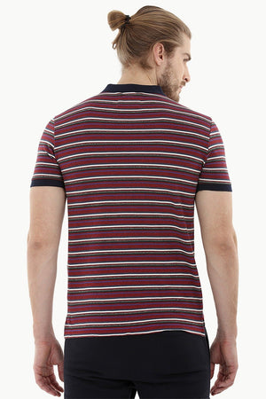 Striped Pique Polo T-Shirt