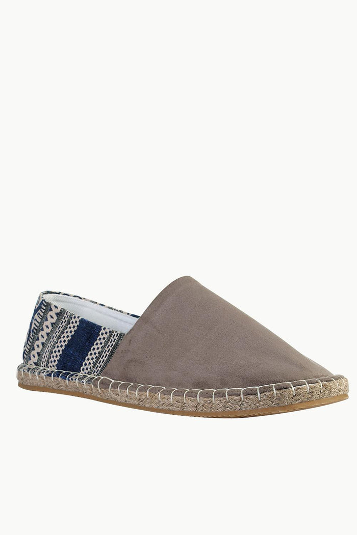 Suede Espadrilles with Canvas Print