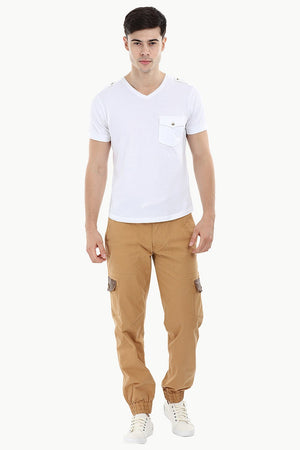Twill Cargo Cuff Jogger Pants