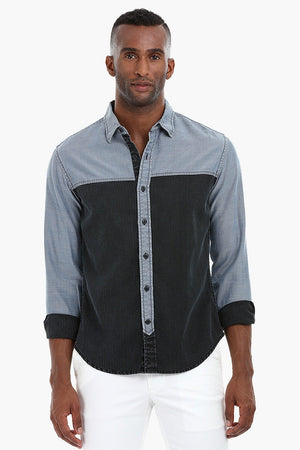 Two Tone Worn Out Cotton Shirt