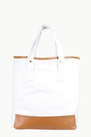 White Twill Faux Detail Tote Bag