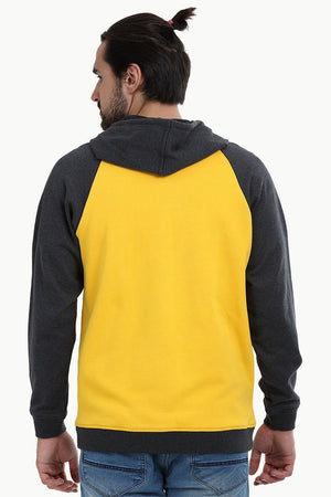 Zipper Raglan Hooded Yellow Jacket