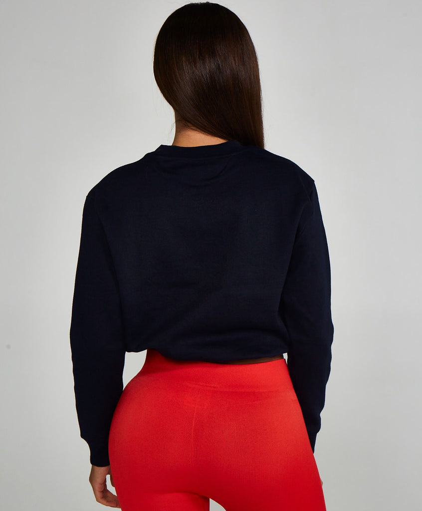 Adjustable Cropped Sweatshirt Navy
