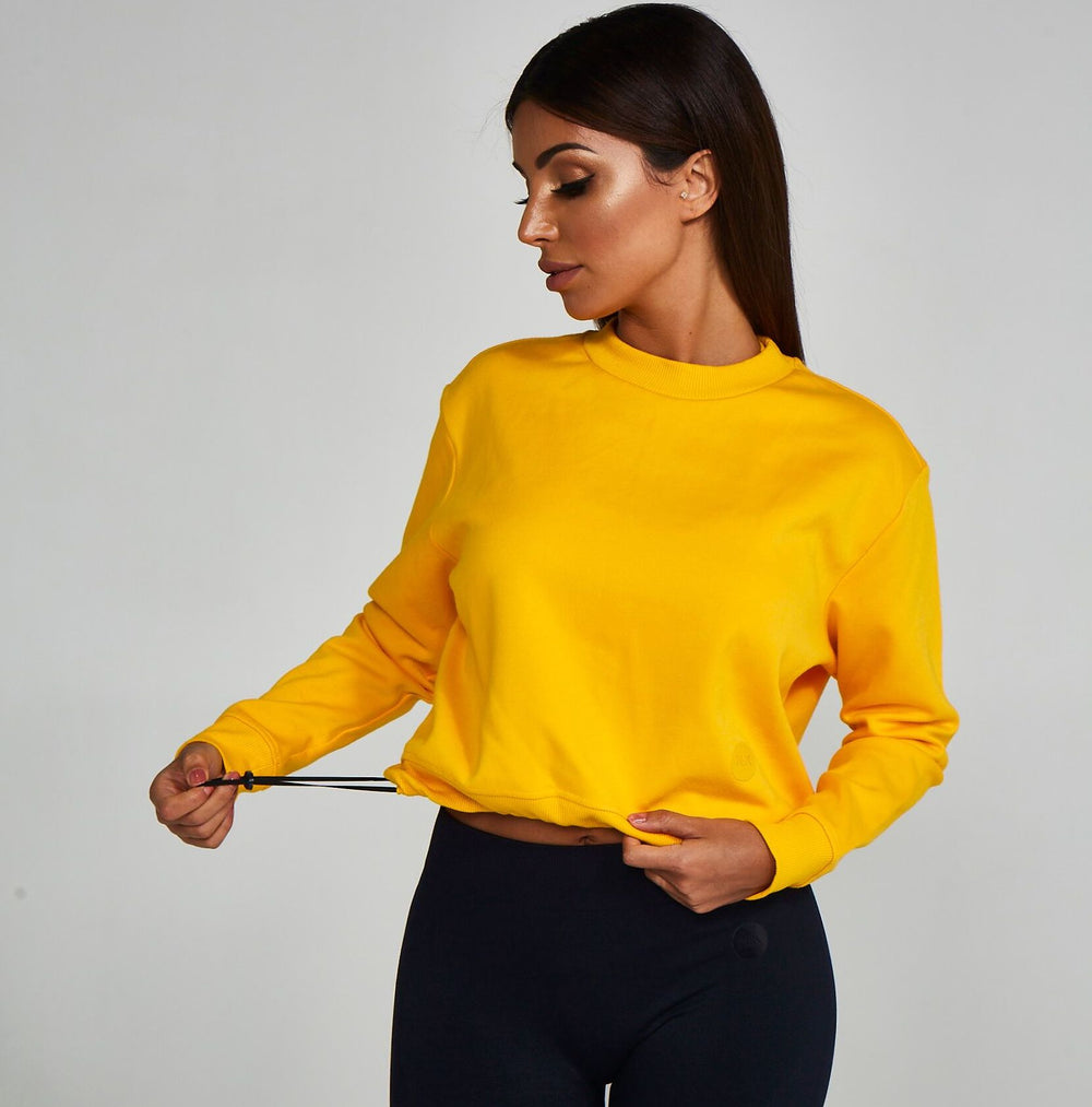 Adjustable Cropped Sweatshirt Yellow