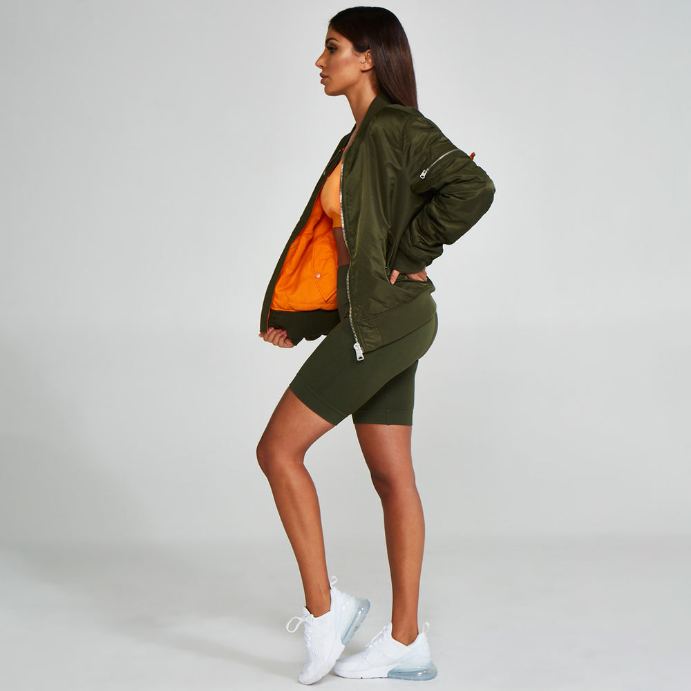 Reversible Bomber Jacket Green Orange