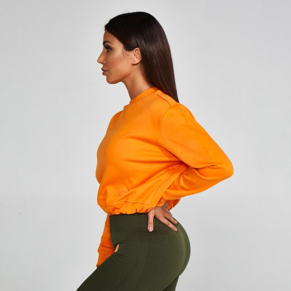Adjustable Cropped Sweatshirt Orange