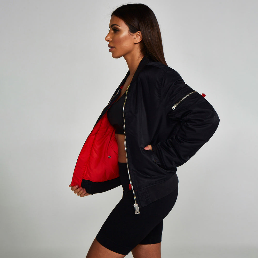 Reversible Bomber Jacket Black Red