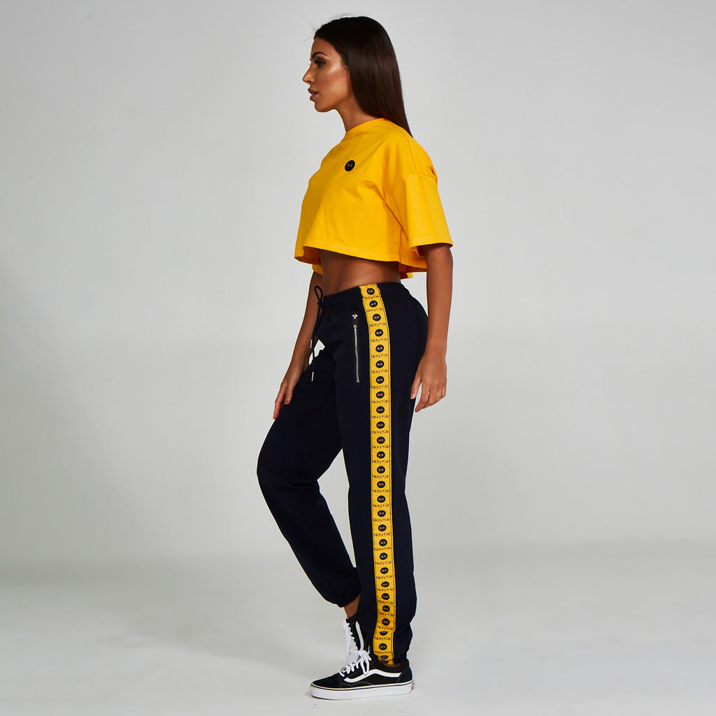 Logo Track Pants Navy Yellow