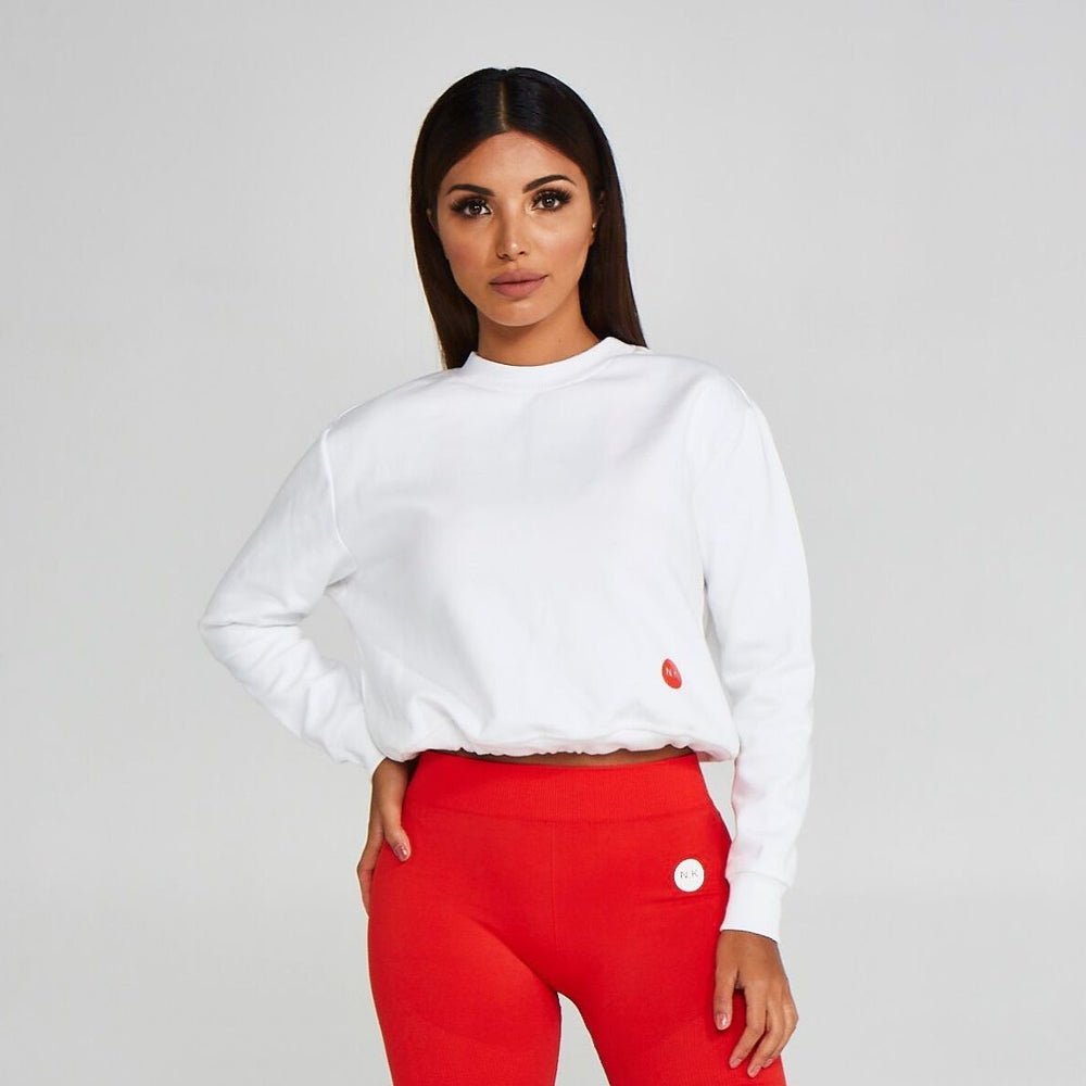 Adjustable Cropped Sweatshirt White