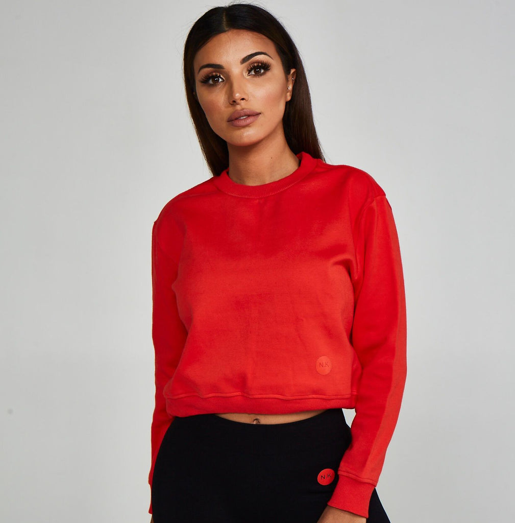 Adjustable Cropped Sweatshirt Red