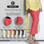 Silk Look Cotton Pintex Pant with Pearl Work