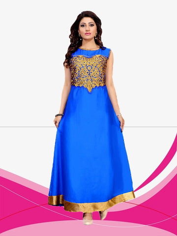 Evening Gown Rayon Lace Work Blue