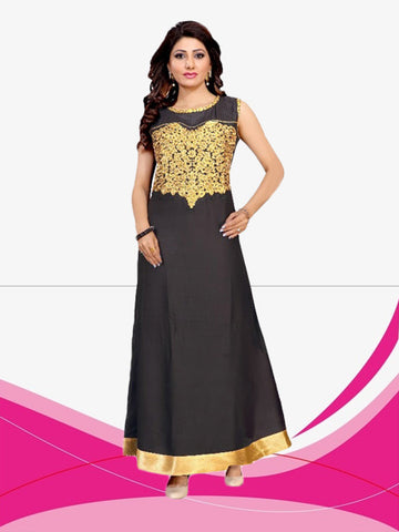 Evening Gown Rayon Lace Work Black