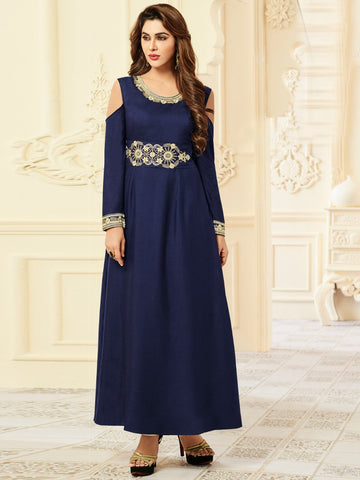 Arihant Long Rayon OFF shoulder Gown Navy Blue