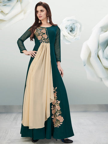 Arihant Long Gorgette Gown Rama Green