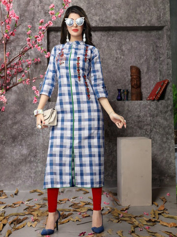 Watermelon Checks Straight Cotton Kurta Blue