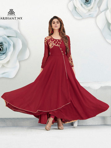 Angrakha Gorgette Gown Mehroon