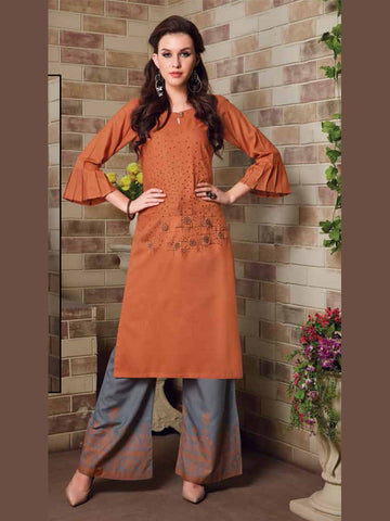 Marmalade And Gray Color Palazzo Set