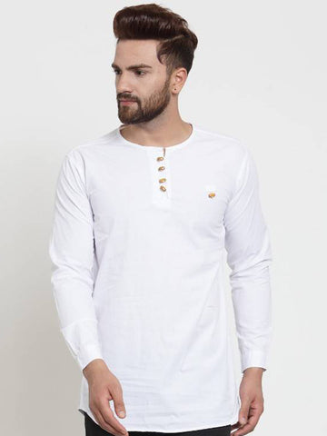 VERO LIE White Cotton Solid Casual Full Sleeve Kurta