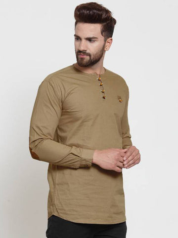 VERO LIE Beige Cotton Solid Casual Full Sleeve Kurta