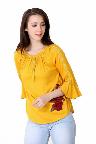 Cotton Blend Trending Tops Yellow