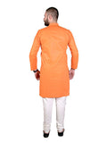 Orange Full Sleeves Cotton Kurta