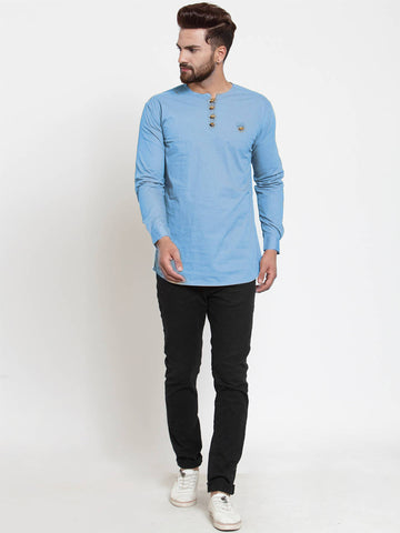 Sky Blue Cotton Solid Casual Full Sleeve Kurta