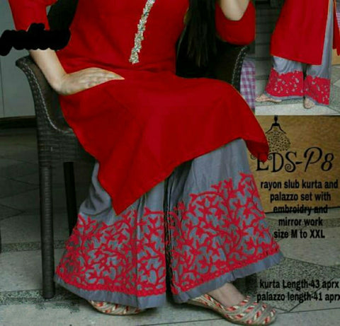 Embroidery Palazzo Set Maroon Red