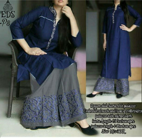 Embroidery Palazzo Set Navy Blue