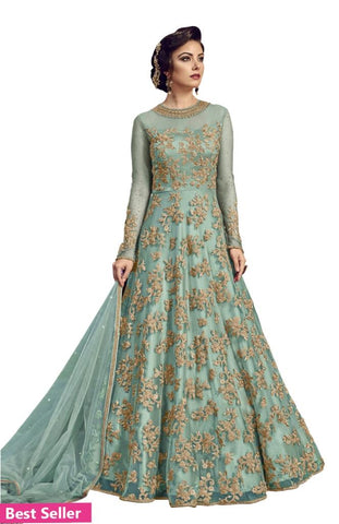 Embroidered Net Ethnic Gown Traffic Grey