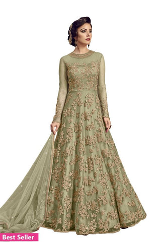 Embroidered Net Ethnic Gown Grey Beige