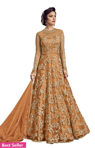 Embroidered Net Ethnic Gown Beige Red